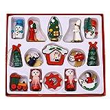Knowled 15-teiliges Weihnachtsschmuck-Set aus Holz mit Schnuller-Anhänger, Weihnachtsbaumschmuck, Weihnachtsdekoration