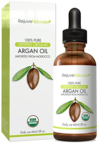RejuveNaturals Moroccan Argan Oil (2oz) USDA Certified Organic, 100% Pure, Virgin, Cold Pressed Natural Luxury Moisturizer for Face, Hair, Skin and Nails