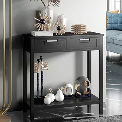 COSTWAY Console Side Table, Modern PC Computer Writing Desk with 2 Drawers and Bottom Shelf, Living Room Entryway Hallway Narrow End Sofa Tables (Black)