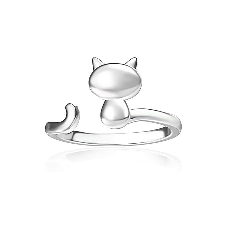 めまいマルクス主義者胸Sperrins調節可能なオープンかわいい猫カラーリング用女性婚約結婚指輪ジュエリーギフト(カラー2)