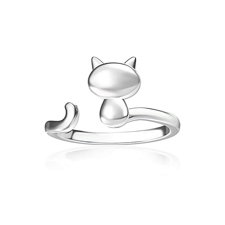 控えるフィッティング冷淡なSperrins調節可能なオープンかわいい猫カラーリング用女性婚約結婚指輪ジュエリーギフト(カラー2)