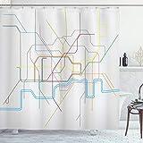 Lunarable London Undergro& Duschvorhang, bunte Linien, Landkarte der U-Bahn, Zugstraßen, zeitgenössische Urban-Kunst, Stoff, Badezimmer-Dekor-Set mit Haken, 178 cm lang, mehrfarbig