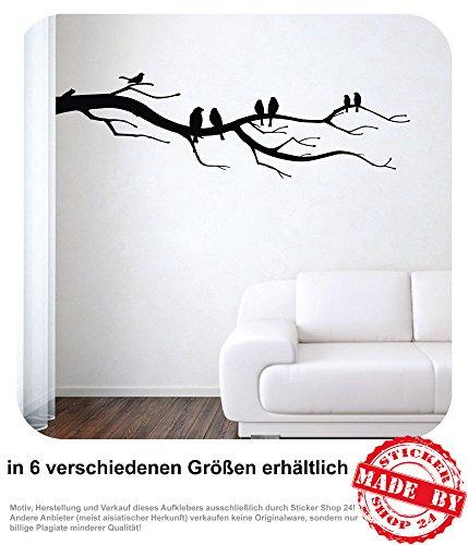 Wandtattoo Vögel auf Zweig Wandaufkleber Aufkleber Wohnzimmer Baum Ast Vögel 30 Farben zur Auswahl (120,0 cm x 36,0 cm)