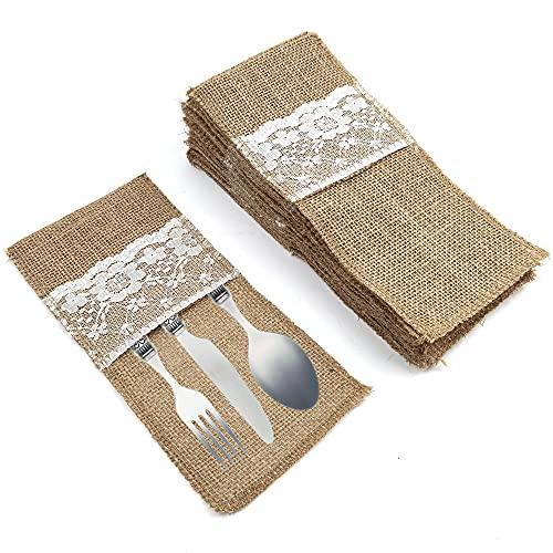Jute Bestecktaschen,20 Pcs Besteckbeutel Bestecktaschen jute Vintage besteckbeutel,für Messer und Gabeln, Geburtstag Party Ostern Feiertage Tischdeko