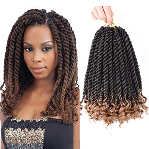 12 Inch Havana Twist Crochet Braids With Curly Ends 6 Packs Crochet Twist Senegalese Twist Crochet Hair Synthetic Braiding Hair Extensions T27#