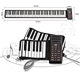 KKTECT Roll Up Piano Teclado Portátil 88 Teclas, Thicken Hand Roll Roll Up Piano, Built-in 1200mA Rechargeable Battery, Support MIDI and Bluetooth, Ideal para principiantes