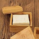 æ— Paquete de 3 recipientes para jabonera, caja de jabón de bambú con tapa, soporte de jabón de madera para baño, ducha, jabonera, contenedor de jabón de mano, para esponjas de jabón y más