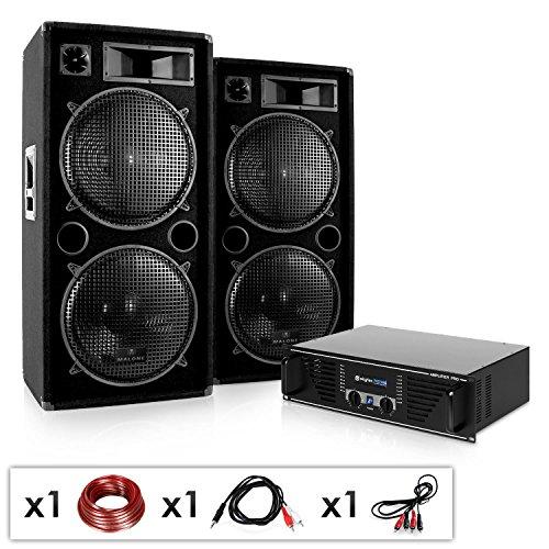 Elektronik Star Phuket Pulsar - DJ PA Komplettset, 2000W DJ-Anlage, 2 x 500 W RMS Lautsprecher-Boxen & 1000 W Verstärker, für 400 Personen, schwarz