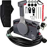 Mophorn Boat Throttle Control 703-48230-12 Outboard Remote Control Box Assy with Safety Lanyard and Key Switch Fit for Yamaha Side Mount 7 Pins Pull to Open