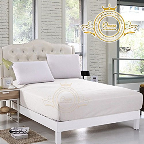 Crown Royal Hotel Collection Bedding's 750 Thread Count Egyptian Cotton Fitted Sheet King Size 14'' Inch Deep Pocket White Solid Export Quality