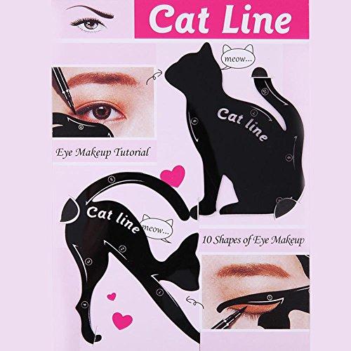 Everpert, set di 2 modelli per il trucco degli occhi, sagomati a forma di gatto per guidare l'eyeliner