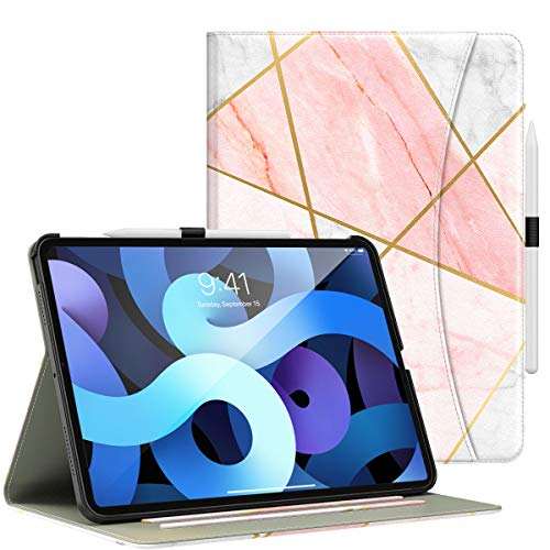 Dadanism iPad Air 4th Generation Case iPad Air 4 Case 10.9 inch Case 2020, [Multi-Angle Viewing Stand] Lightweight Protective Cover with Flexible Hand Strap & Card Slots, Geometric Marble Pink