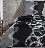 Leonado Vicenti - Bettwäsche Set 100% Baumwolle Renforce grau schwarz Kreise Garnitur Bezug Kissen mit Reißverschluss, Anzahl der Teile:2-teilig 155x220 cm