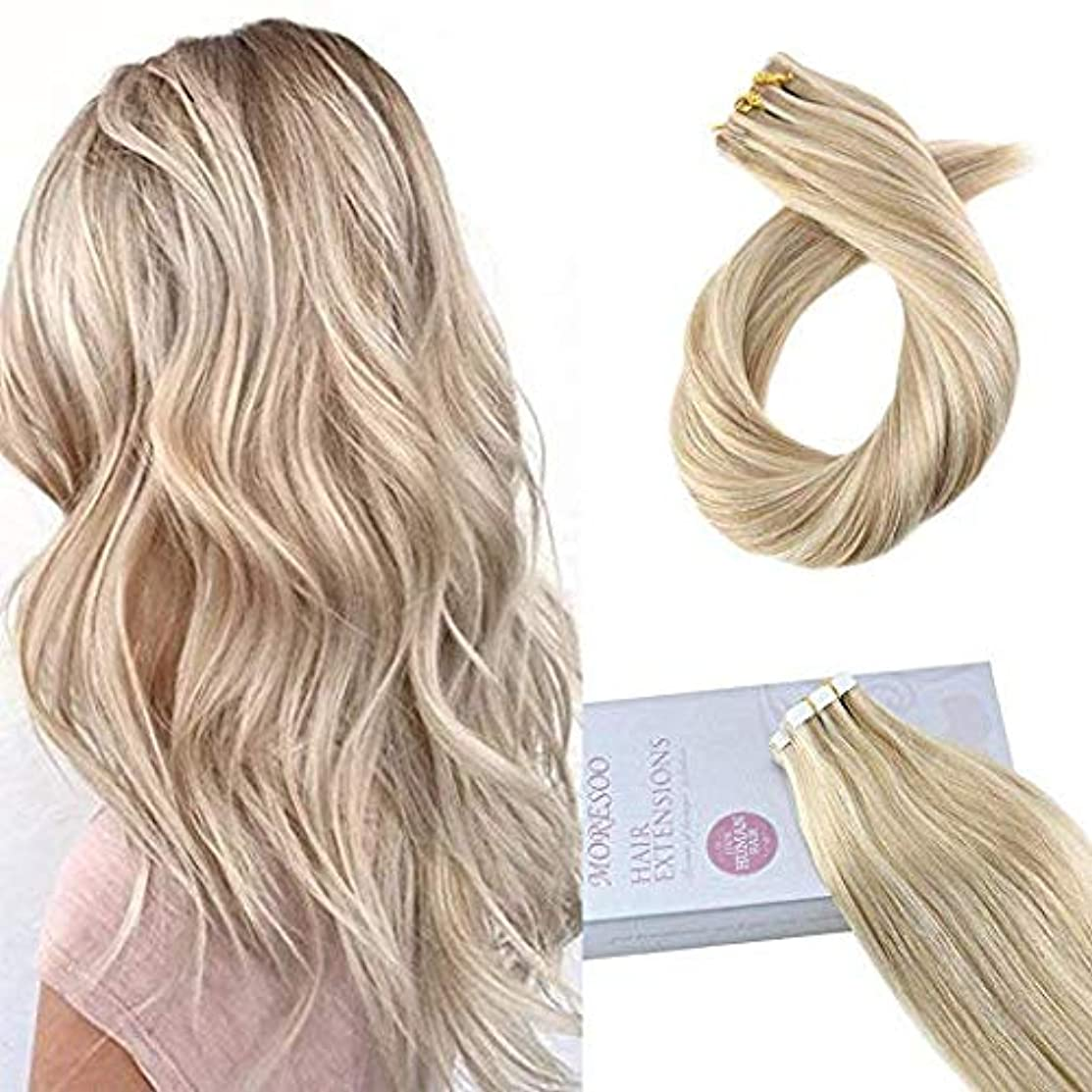 Moresoo Invisible Tape in Human Hair Extensions Blonde 16 Inch 20pcs/50g Two-tone Colored Hair Bleach Blonde #613 Highlighted with Honey Blonde #14 Remy Human Hair