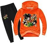 Silver Basic Sudadera con Capucha y Pantalones de Dragon Ball para Niñas Conjunto de 2 Piezas Sudadera y Pantalones de Goku Cosplay 140,Naranja-1