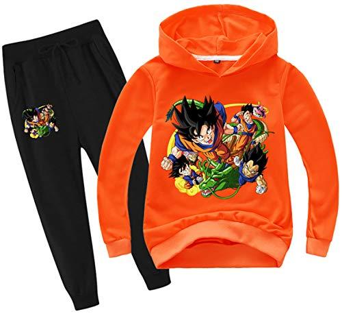 Silver Basic Niños Dragon Ball Sudadera con Capucha y Pantalones Chándal Anime Japonés Son Goku Sudadera y Pantalones Conjunto Goku Ropa Cosplay 140,Naranja-4