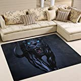 Black Large Area Rugs 5'3' x 4',Roaring Panther Printed,Lightweight Non Slip Floor Carpet for Living Room Bedroom Home Deck Patio