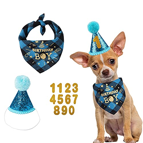 Dog Birthday Party Set, Dog Birthday Bandana Triangle Scarf with Cute Dog Birthday Number Hat Dog Birthday Banner for Dog Birthday Party Supplies (Blue-hat&bscarf&Number)