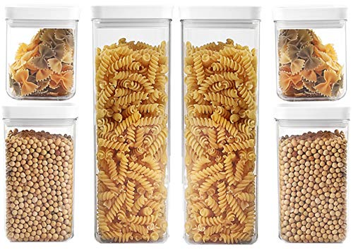 SANNO Airtight Food Storage Containers 6 Pieces - Plastic PBA Free Kitchen Pantry Storage Containers for SugarFlour and Baking Supplies
