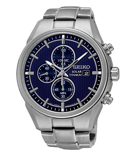 Seiko mannen chronograaf zonne-energie horloge met titanium riem SSC365P1