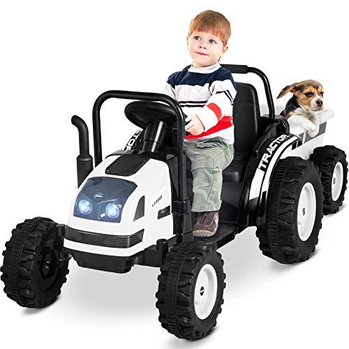 Uenjoy Kinderfahrzeug Traktor mit abnehmbarem Anhänger Trettraktor Zwei Fahrstile Outdoor mit Musik, Bluetooth, FM, Lampe, USB-Buchse usw, Weiß