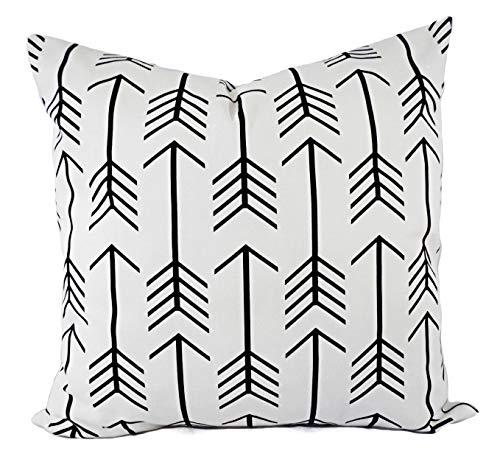 Fundas de almohada negras blancas – Almohadas lumbares negras – Fundas Euro – Almohadas flechas – Almohadas acento – Almohadas de 60,6 x 60,6 cm