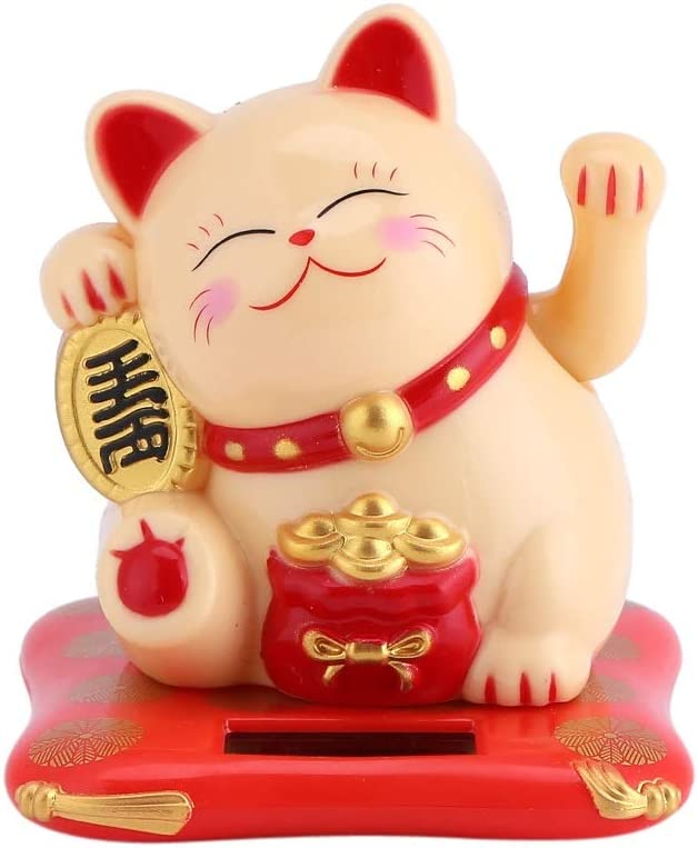 Solar Powered NEW before selling Luck Cat Cute 100% quality warranty Wealth Welcoming