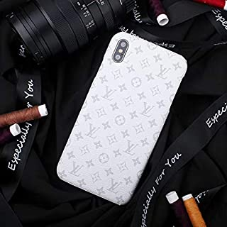 Phone Case for iPhone Xs, iPhone X, Luxury Designer Classic Monogram Leather Back Soft TPU Bumper Protective Case for iPhone Xs, iPhone X