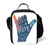 MLNHY School Supplies Wave,Life is a Wave Catch It Inspirational Quote Shaka Sign Cute Floral Sea Details Art...