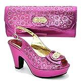 Juego de zapatos y bolsos para mujer para combinar con zapatos y bolsos decorados con diamantes de imitación para mujer, Morado (Fucsia), 37.5 EU