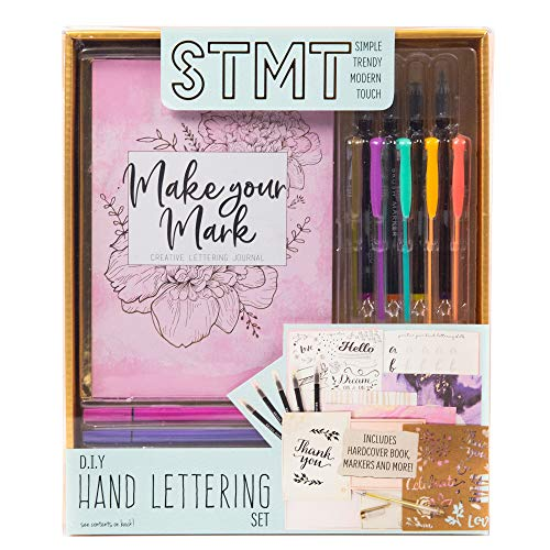 STMT Hand Lettering by Horizon Group USA, Beginner Set with Full Instructional Guide, Practice Sheets, Flexible Brush & Fine Line Tip Markers, Hardcover Journal