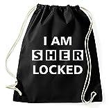 Styletex23 I Am Sherlocked Sherlock Holmes Logo Turnbeutel Sportbeutel, schwarz