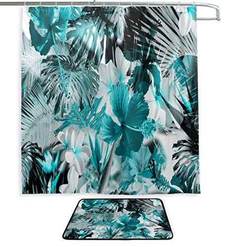 Cortinas de Ducha de baño para niñas, Color Azul Oscuro, Primavera, Flores...