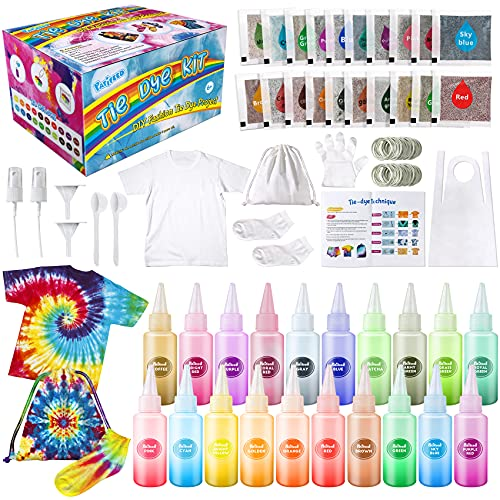 Tie Dye Kit for Kids Adults - Arts and Crafts Toy for Girls & Boys Ages 6-12 - Fabric Tye Dye Craft Kits 20 Colors, Birthday Christmas Gifts for Kids 3 4 5 6 7 8 9 10+