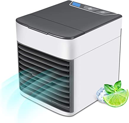 KACOOL Air Cooler, Personal Space Air Conditioner, 4 in 1 Mini USB Mini Portable Evaporative Air Humidifier Purifier with LED Light/3 Speeds Desktop Cooling Fan for Room Office Household
