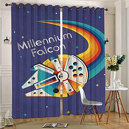 STTYE Decorative Curtains Blackout Curtain Liner Rainbow Star Wars Millenium Falcon Teen Room Decor Polyester Curtains 140cmx250cm x 2 pcs