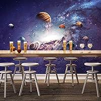 Clhhsy カスタム壁画ギャラクシーユニバース星空3Dポスター壁画モダンベッドルーム子供部屋リビングルームの装飾写真の壁紙-450X300Cm
