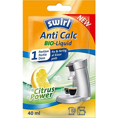 Swirl 8221653 Anti Calc Bio-Liquid 1 Portion (40ml) mit Citrus Power | Flüssigentkalker geeignet für Kaffeemaschinen, Padmaschinen, Wasserkocher usw, Plastik