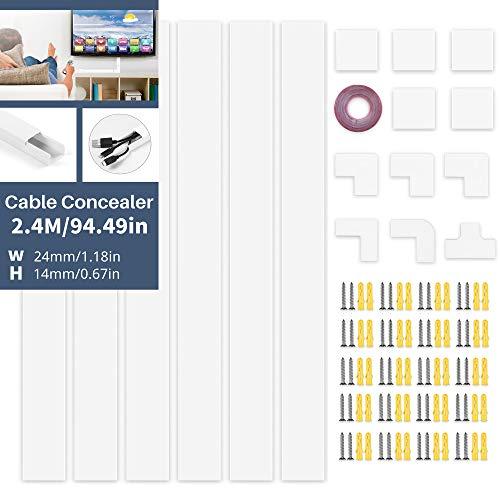 DazSpirit Kabelkanal Weiß 2.4M Kabelkanal Selbstklebend Weiss(6 Stk.- 400X24X14 mm), Lackierbarer Kabelschacht zum Verstecken von Kabel, Tv KabelkanäLe zur Kabelführung Fertig für Montage An der Wand