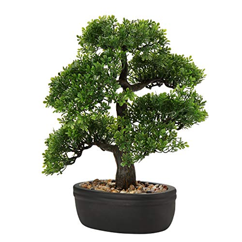 U/S Bonsai Tree, Fake Plants Ceramic Potted Tree Artificial Japanese Cedar Bonsai Tree Decoration for Home Desk Office Bathroom Kitchen Farmhouse Indoor/Outdoor (Bonsai Tree #07)