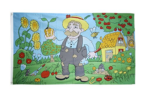 FahnenMax Drapeau de jardin naturel ami ami + GRATIS Stickers, Drapeau Fritze®, Hissflagge 90 x 150 cm