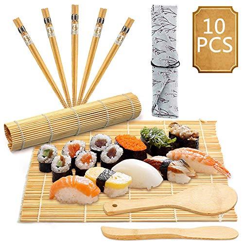BESTZY 10pcs Kit para Hacer Sushi de Bambú Preparar Sushi Fácil Y Profesional...