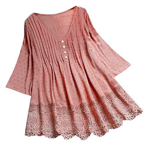 Damen Große Größe T-Shirt Baumwolle Leinen Tee Shirt Oversized Knöpfe Oberteile Frauen Spitze Button Bluse Damen Tunika Tops Blusentops