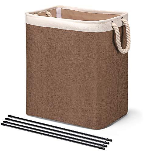 House Day - Cesta para la ropa sucia con asas para cestas de lavandería, forro integrado con soportes desmontables, bolsas de lavandería plegables para organizar la ropa (marrón)