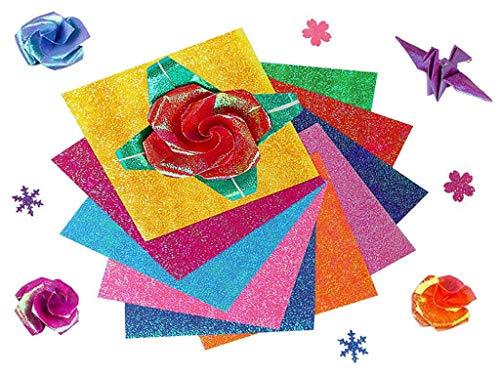 Papel de Origami Cuadrado, Anlising 100 Piezas 15 * 15cm Cuadradas de Papel de Origami, Papel Brillo Origami, Para Manualidades y Proyectos de Bricolaje (10 Colores)