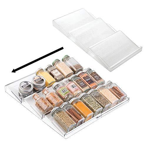 mDesign Juego de 2 estanterías para botes de especias especial para cajón – práctico accesorio de cocina para organizar especias – Especiero con 3 niveles – Color:...