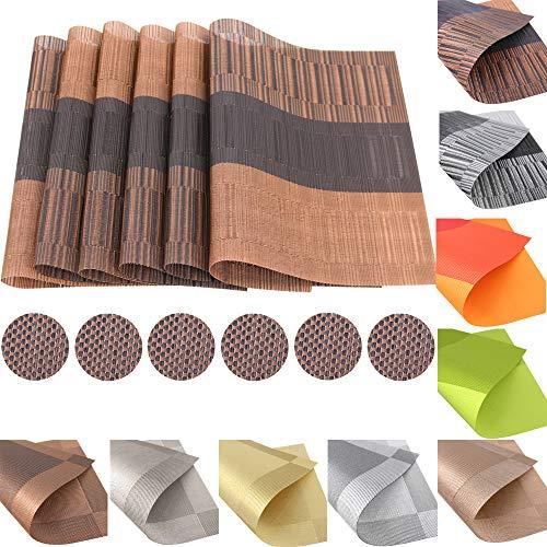 12er Set Platzsets Untersetzer Platzdeckchen Rutschfest Abwaschbar Tischmatten aus PVC Abgrifffeste Hitzebeständig Tischsets Schmutzabweisend (PVC-Brauner Bambus)