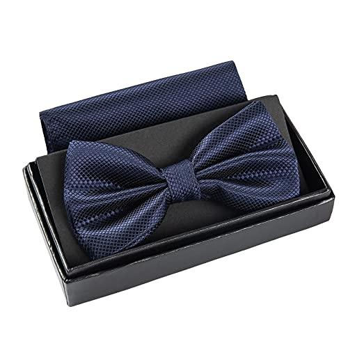 Massi Morino ® Herrenfliegen Set mit Tuch in Dunkelblau Männer Anzug Schleife Krawattenfliege bowtie blau navy-blue blaue naviblau darkblue marineblau blauefliege dunkelblauefliege