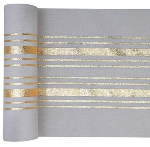 Santex Noel - Chemin de table blanc rayures métallisé or rouleau de 3 mètres