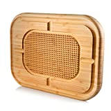 PREMIUM BAMBOO WOOD CONSTRUCTION - Bambüsi Cutting Board is intricately handcrafted from All-Natural, Organic, and Sustainable Moso Bamboo, which makes it 100% food-safe – formaldehyde-free, BPA-free, with no toxins or chemicals added. INNOVATIVE DES...